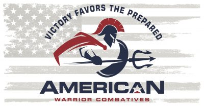 RWB American Combatives logo with american flag background.